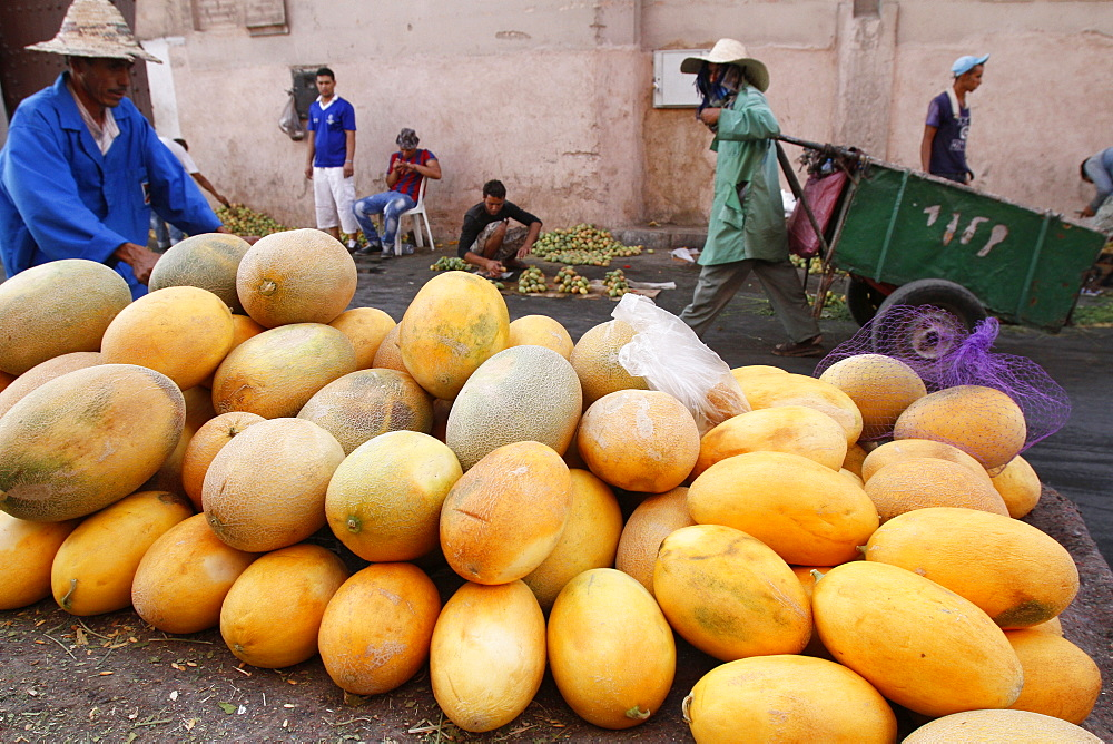 Yellow melons for sale, Marrakech, Morocco, North Africa, Africa