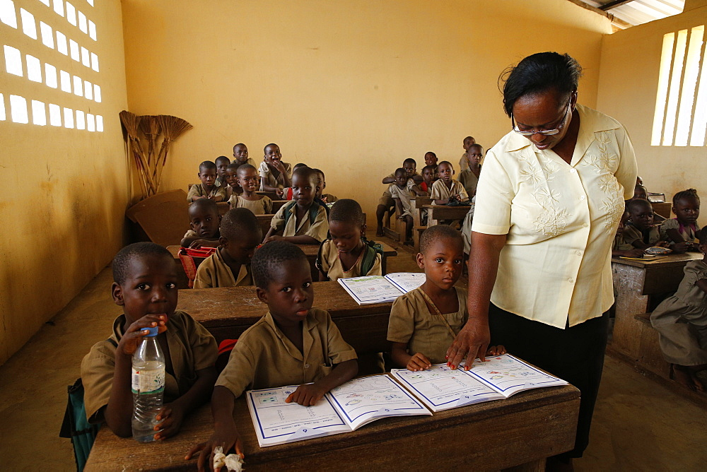 Pupils in a classroom, African primary school, Lome, Togo, West Africa, Africa