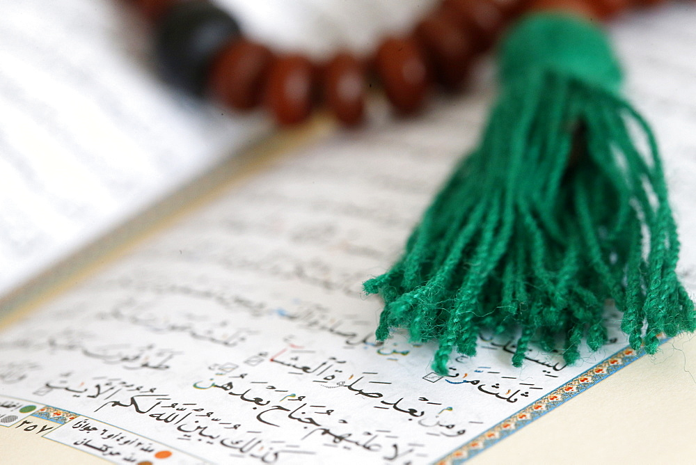 Islamic prayer beads and Quran, Paris, France, Europe