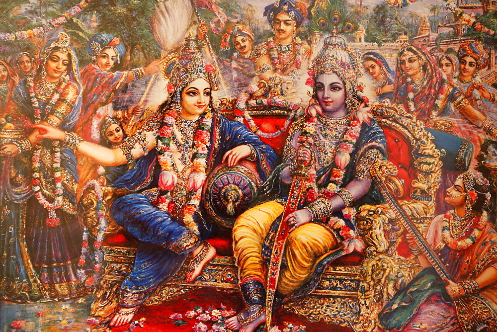 Picture of Radha and Krishna displayed in an ISKCON temple, Sarcelles, Seine St. Denis, France, Europe