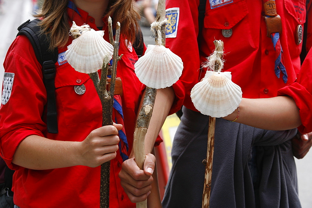 Scouts with Santiago pilgrimage scallop shells, Lourdes, Hautes Pyrenees, France, Europe