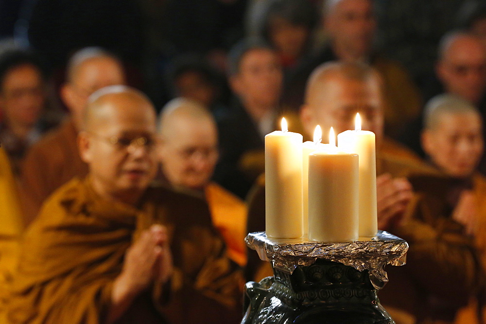 Buddhist monks during Wesak (Buddha's birthday, awakening and nirvana) celebration at the Great Buddhist Temple (Grande Pagode de Vincennes), France, Europe