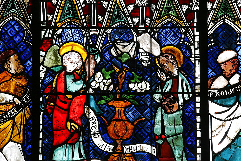 Stained glass window dating from the 14th century depicting the Announcement made to Mary, Our Lady of Strasbourg Cathedral, Strasbourg, Bas-Rhin, Alsace, France, Europe