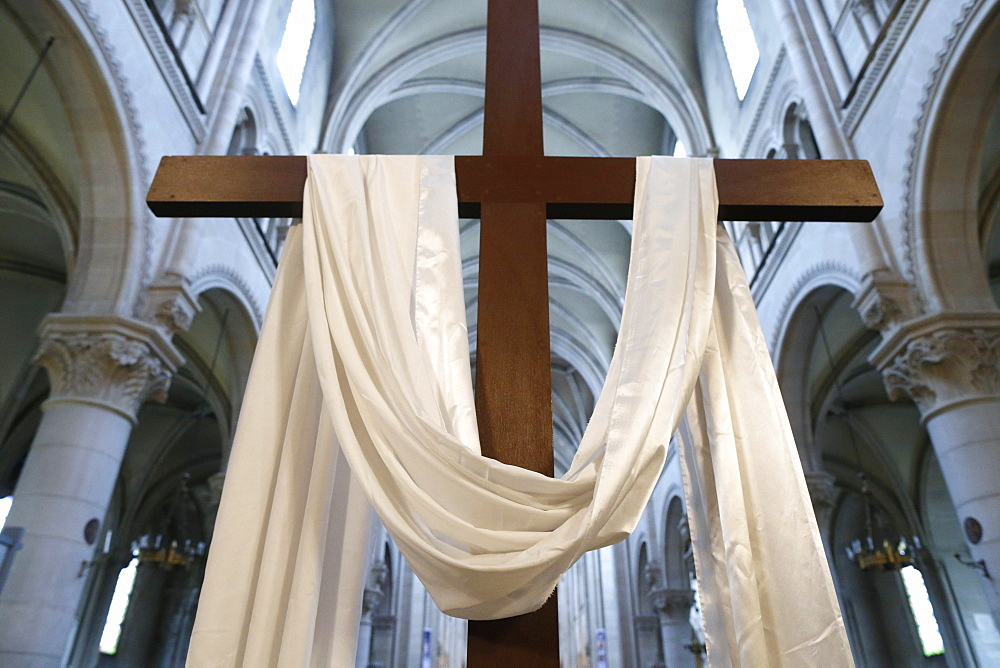The cross and the white cloth symbolize the resurrection of Jesus, Holy Week, St. Ambroise church, Paris, France, Europe