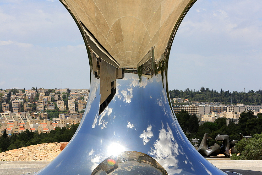 Turning the world upside down by Anish Kapoor, a newly-installed sculpture reflecting the earth and sky, at the Israel Museum, Jerusalem, Middle East