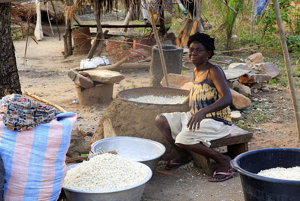 Drying the cassava in the African village of Datcha, Togo, West Africa, Africa