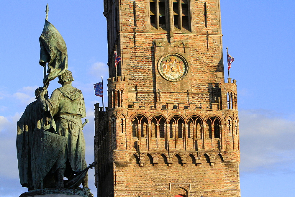Arms, Kingdom of Belgium, Belfry of Bruges, viewed from the Grand Place, Bruges, Belgium, Europe