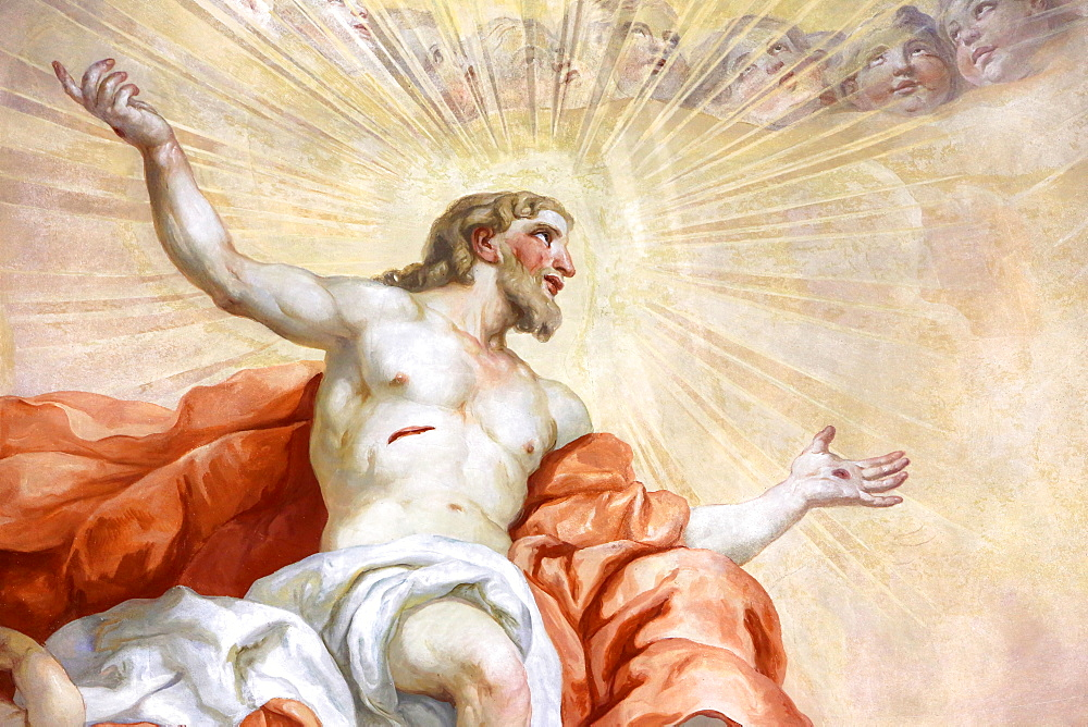 Jesus Christ, fresco by Johann Michael Rottmayrr, Karlskirche (St. Charles's Church), Vienna, Austria, Europe
