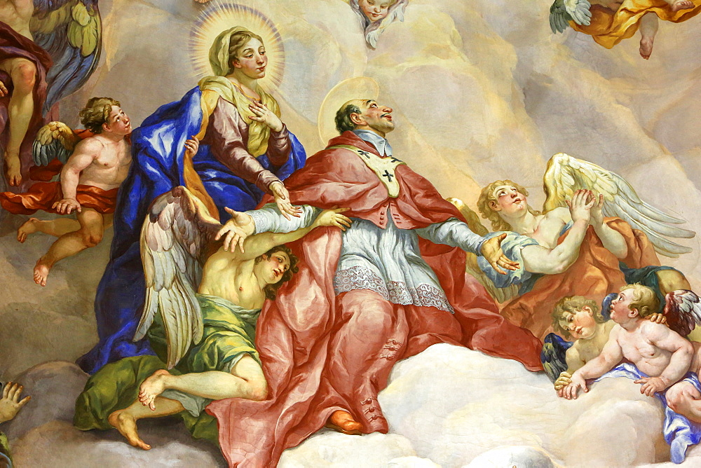 Intercession of Charles Borromeo supported by the Virgin Mary, fresco by Johann Michael Rottmayrr, Karlskirche (St. Charles's Church), Vienna, Austria, Europe