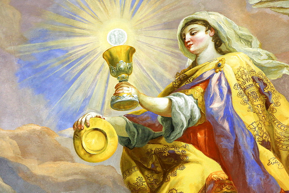 Ciborium, woman with light in her hands, fresco by Johann Michael Rottmayrr, Karlskirche (St. Charles's Church), Vienna, Austria, Europe