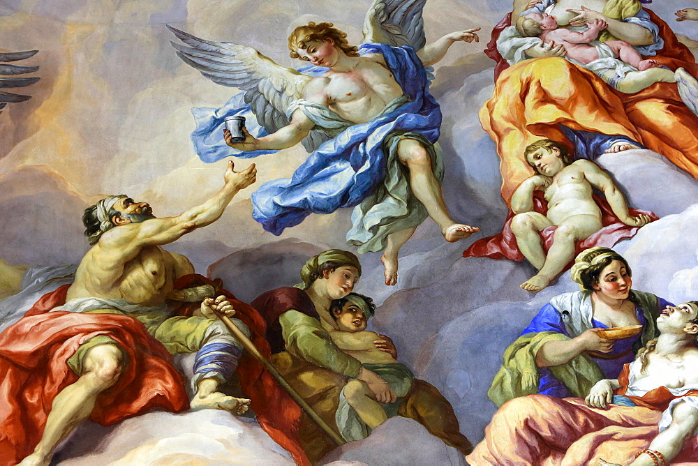 Angels and beggars, fresco by Johann Michael Rottmayrr, Karlskirche (St. Charles's Church), Vienna, Austria, Europe