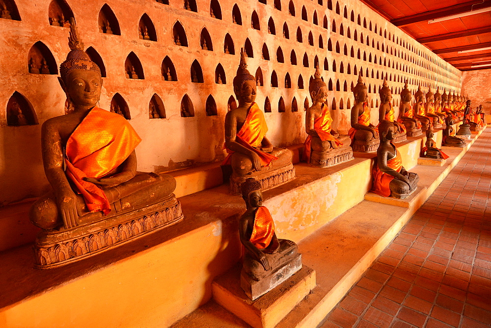 Buddha statues in Wat Sisaket, Vientiane, Laos, Indochina, Southeast Asia, Asia