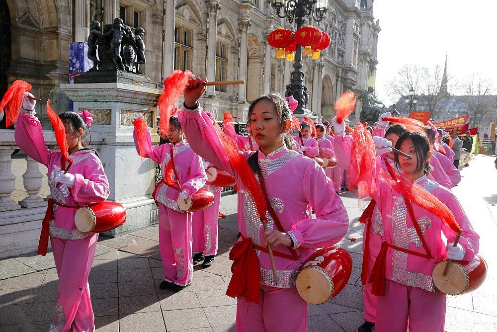 Chinese New Year outside the Paris City Hall, Paris, France, Europe
