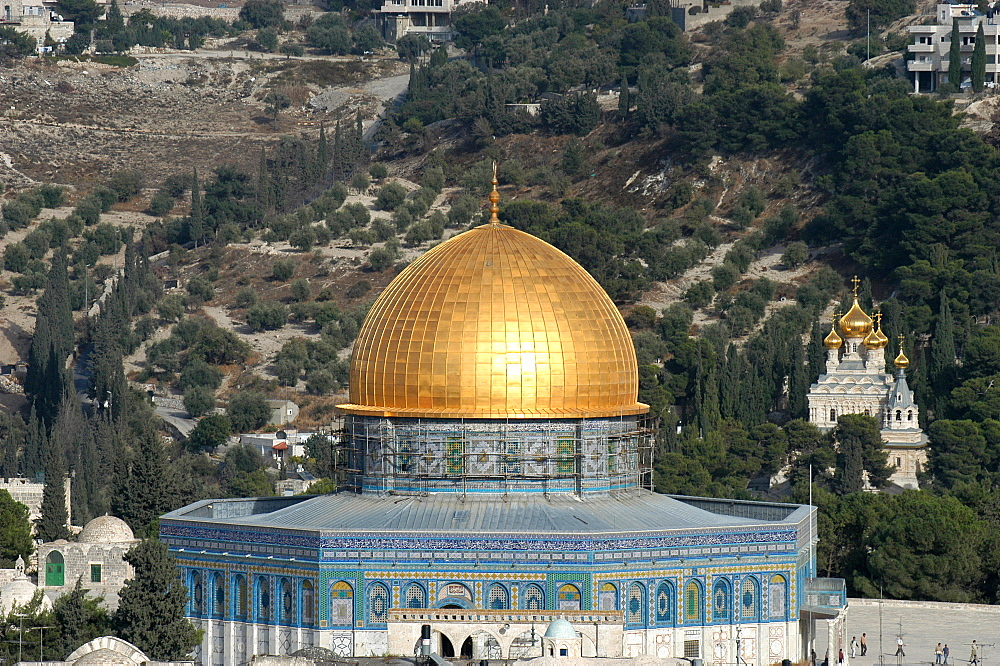 The Dome of the Rock and Mount of Olives, Jerusalem, Israel, Middle East