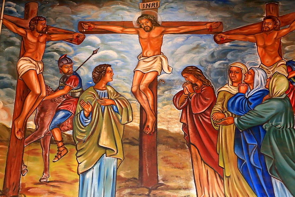 The Crucifixion of Jesus, St. Peter and Paul Cathedral, Aneho, Togo, West Africa, Africa