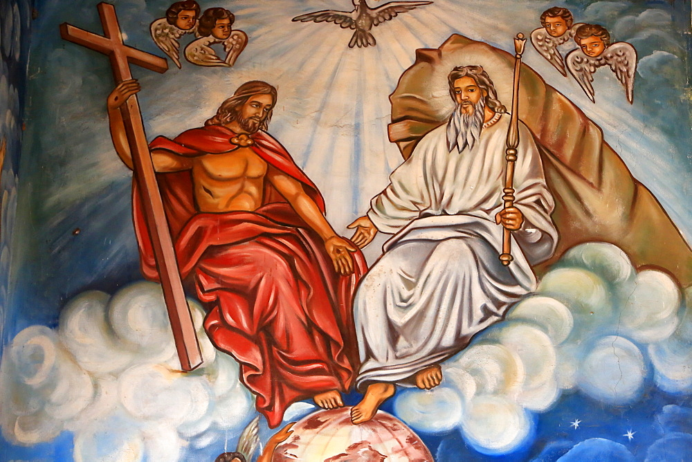 Holy Trinity of the Father, the Son and the Holy Spirit. St. Peter and Paul Cathedral, Aneho, Togo, West Africa, Africa