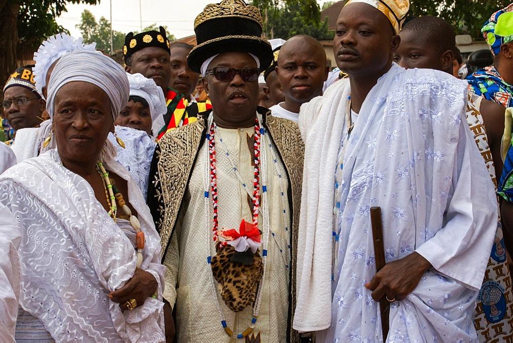Voodoo bigwigs in Ouidah, Benin, West Africa, Africa