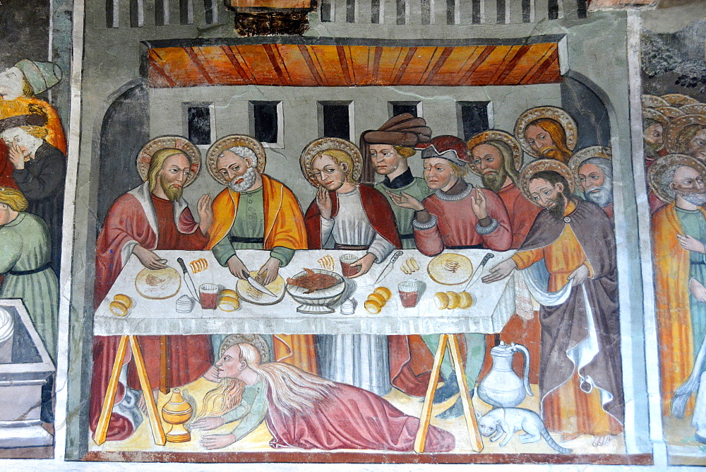 A 16th century painting depicting a meal at Lazarus's house, St. Antony's chapel in Bessans, Savoie, France, Europe
