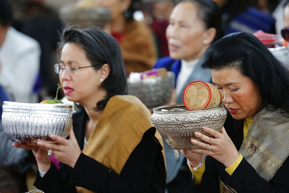 Offerings, Magha Puja, Wat Velouvanaram, Bussy Saint Georges, Seine et Marne, France, Europe