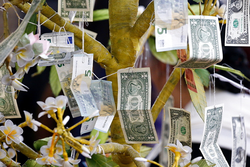 Buddhist money tree to make merit and donate to local temple, Wat Velouvanaram, Bussy Saint Georges, Seine et Marne, France, Europe
