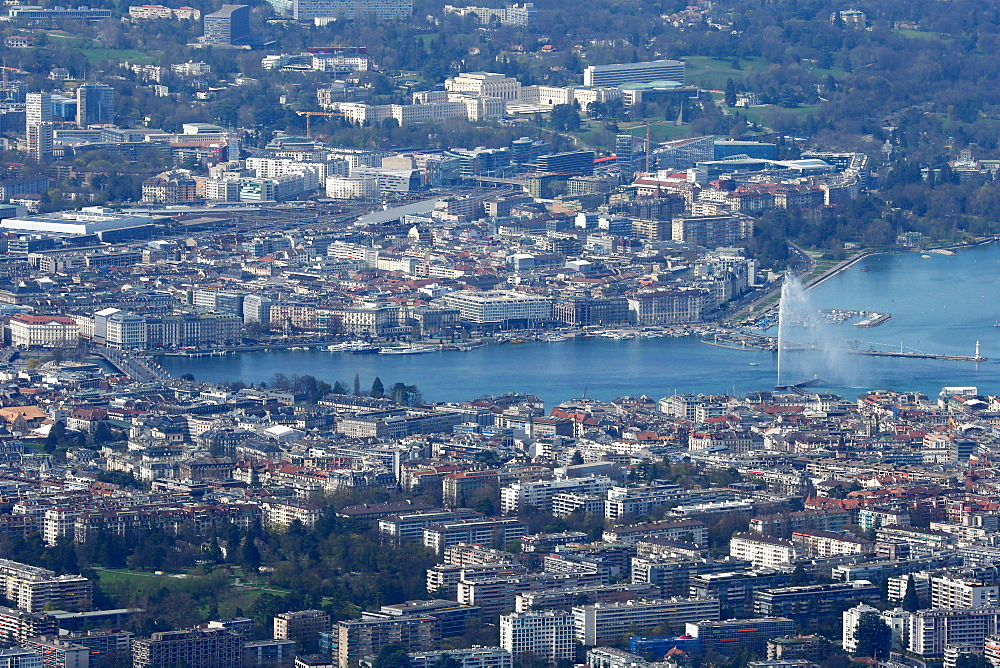 Lake Geneva and water jet, the world's tallest fountain, Geneva, Switzerland, Europe