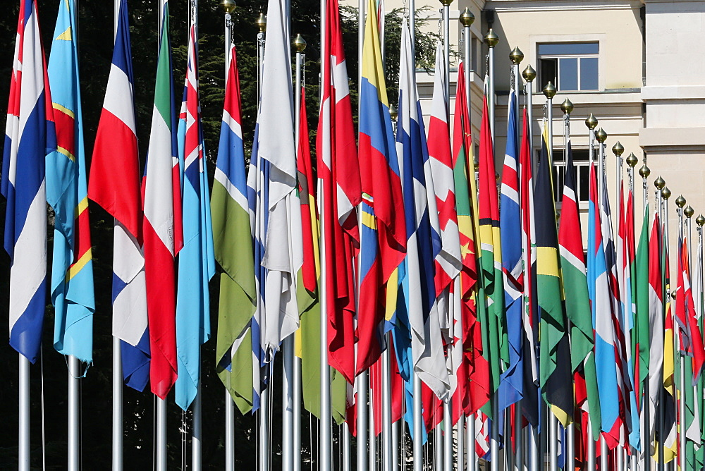 The flag lined approach to the entrance to the United Nations' Headquarters in Geneva, Switzerland, Europe