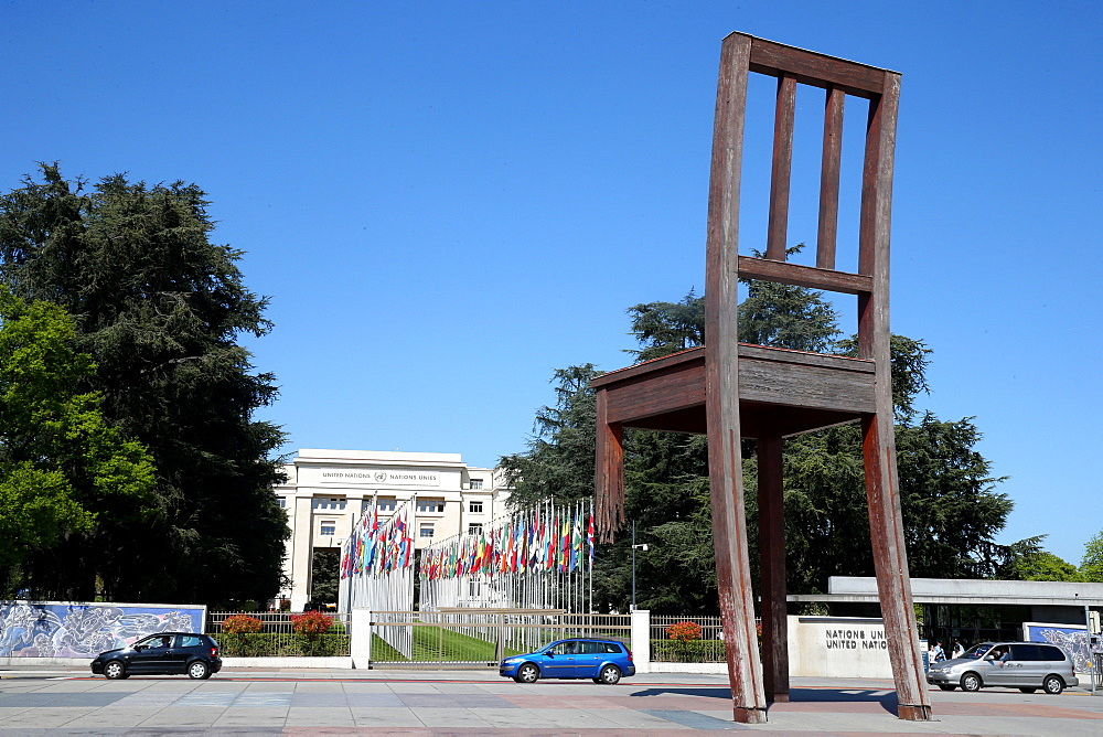 The Broken Chair by Daniel Berset, Memorial to the Victims of Landmines in front of the United Nations Building, Geneva, Switzerland, Europe