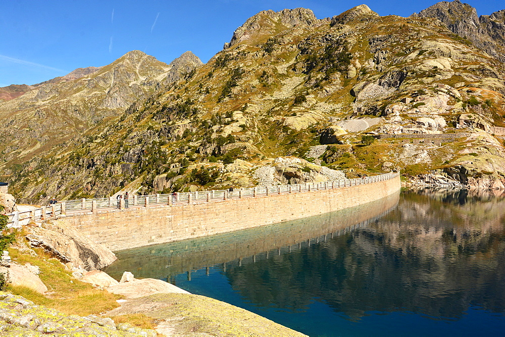 Artouste dam and lake in Osseau valley, Pyrenees-Atlantiques, France, Europe