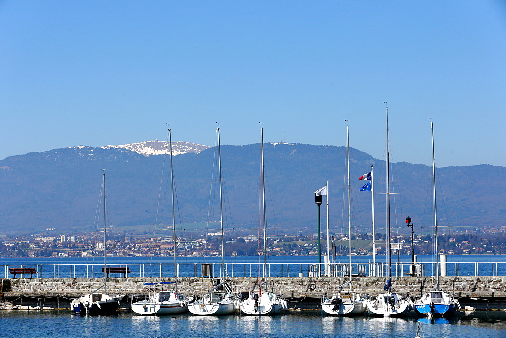 Sailboat marina, Nernier on Lake Geneva, Haute-Savoie, France, Europe