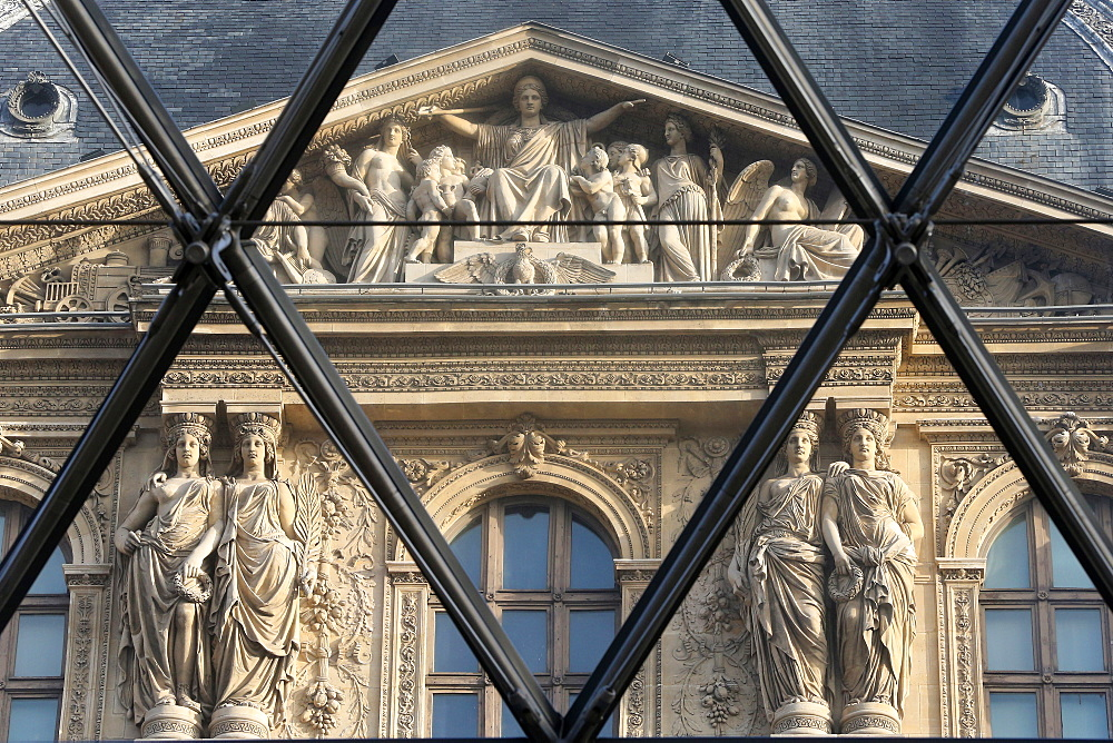 Palais du Louvre seen through the Pyramid, Paris, France, Europe