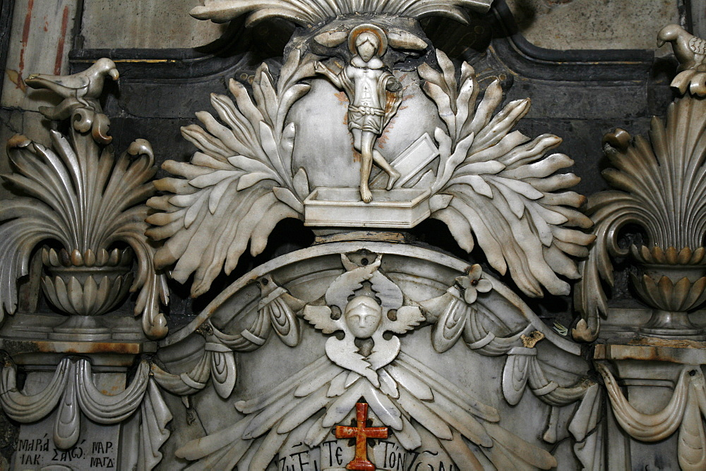 Detail of Tomb of Jesus at Church of the Holy Sepulchre, Old City, Jerusalem, Israel, Middle East