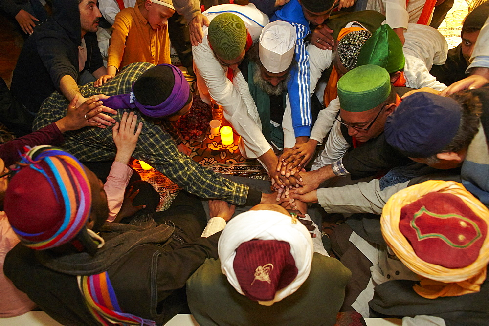 Naqshbandi Sufis joining hands, Paris, France, Europe