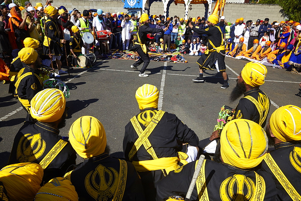 Hola Mohalla, martial arts during the Sikh new year, in Bobigny, France, Europe
