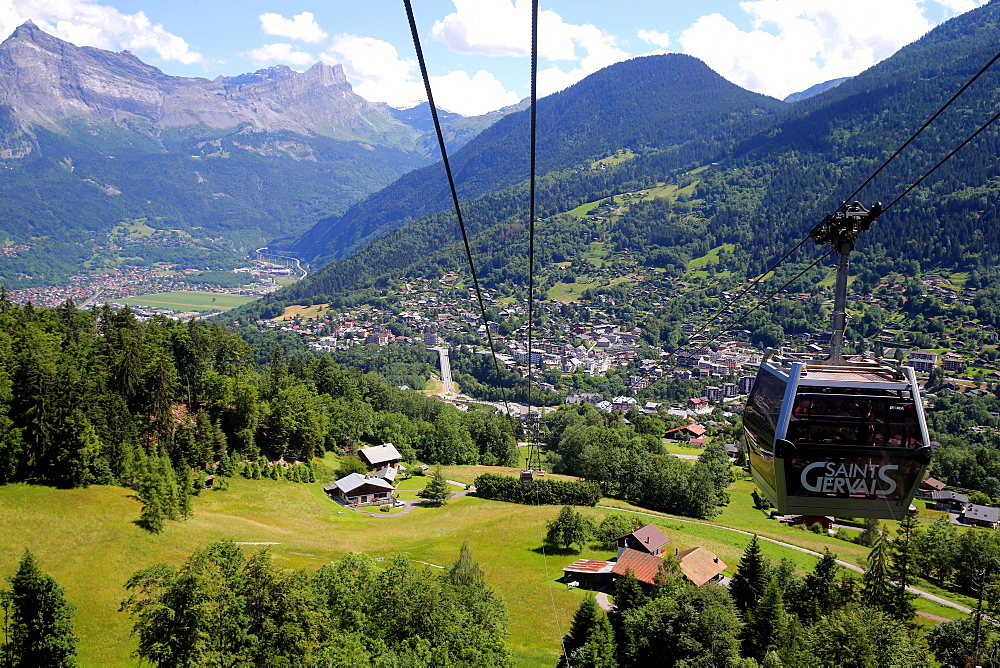 Gondola in Saint-Gervais-les-Bains in summer, Haute Savoie, France, Europe