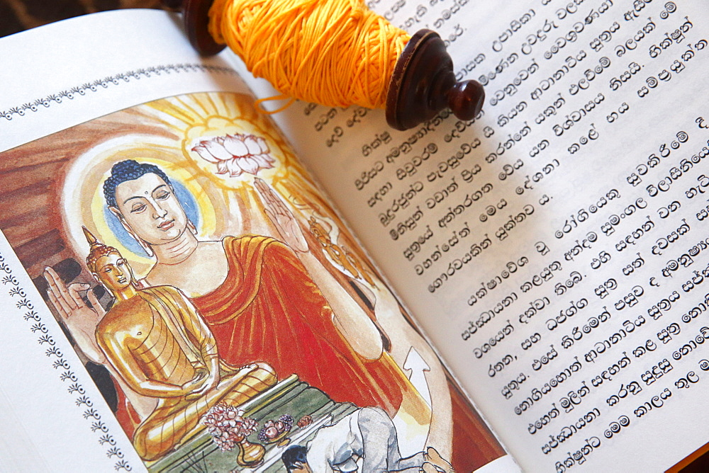 Buddhist sacred texts and a roll of Sai-Sin (sacred thread), Life of Siddhartha Gautama, the Supreme Buddha, Geneva, Switzerland, Europe