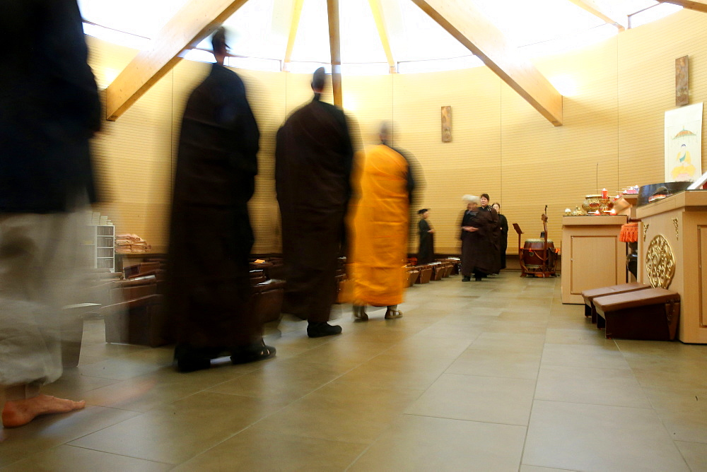 Walking meditation, Buddhist ceremony, Fo Guang Shan temple, Geneva, Switzerland, Europe