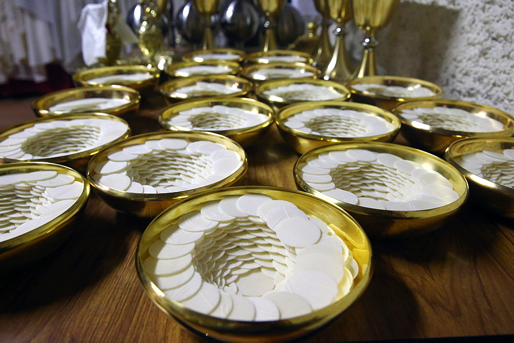 Roman Catholic unleavened wafers for the Holy Communion, Sanctuary-Shrine of Jean-Marie Vianney (the Cure d'Ars), Ars-sur-Fromans, Ain, France, Europe