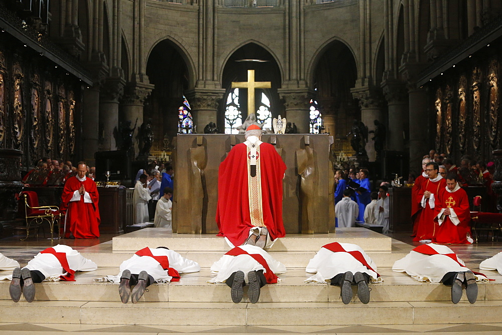 Priest ordinations at Notre-Dame de Paris cathedral, Paris, France, Europe