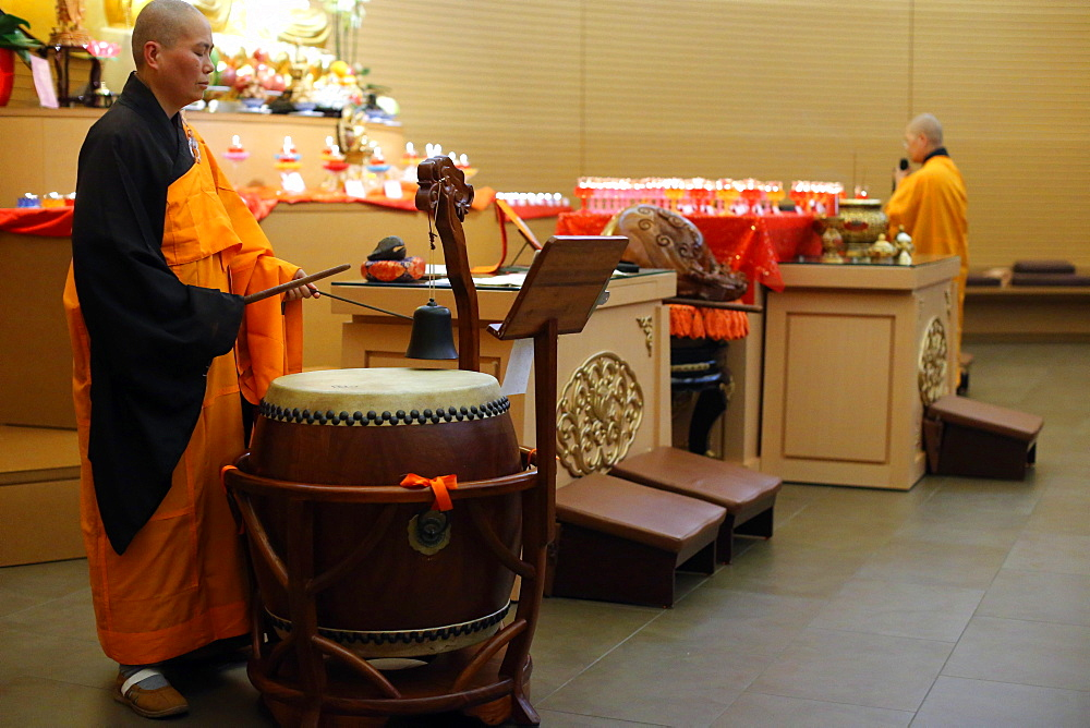Drum and bell, Buddhist ceremony, Fo Guang Shan temple, Geneva, Switzerland, Europe