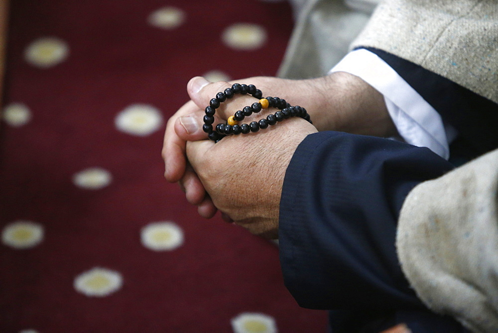 Cheikh Mustapha's prayer beads, Urs of Mawlana Cheikh Muhammad Nazim Adil al-Haqqani in Selimye mosque in Nicosia, Cyprus, Europe