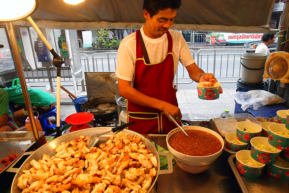 Fried squid, Bangkok Food Market, Bangkok, Thailand, Southeast Asia, Asia