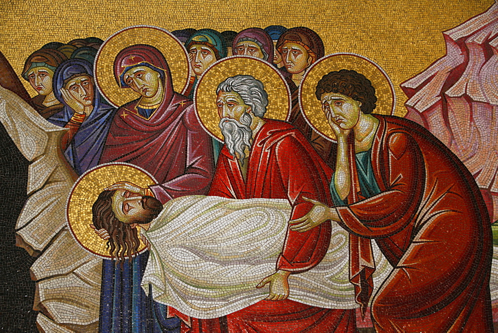 Mosaic of Christ's death at the Church of the Holy Sepulchre, Jerusalem, Israel, Middle East