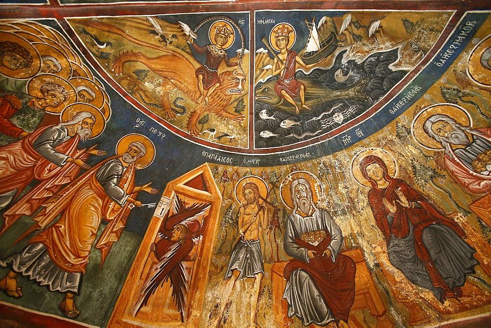 Frescoes, Panagia tis Asinou Byzantine church, Nikitari, Cyprus, Europe