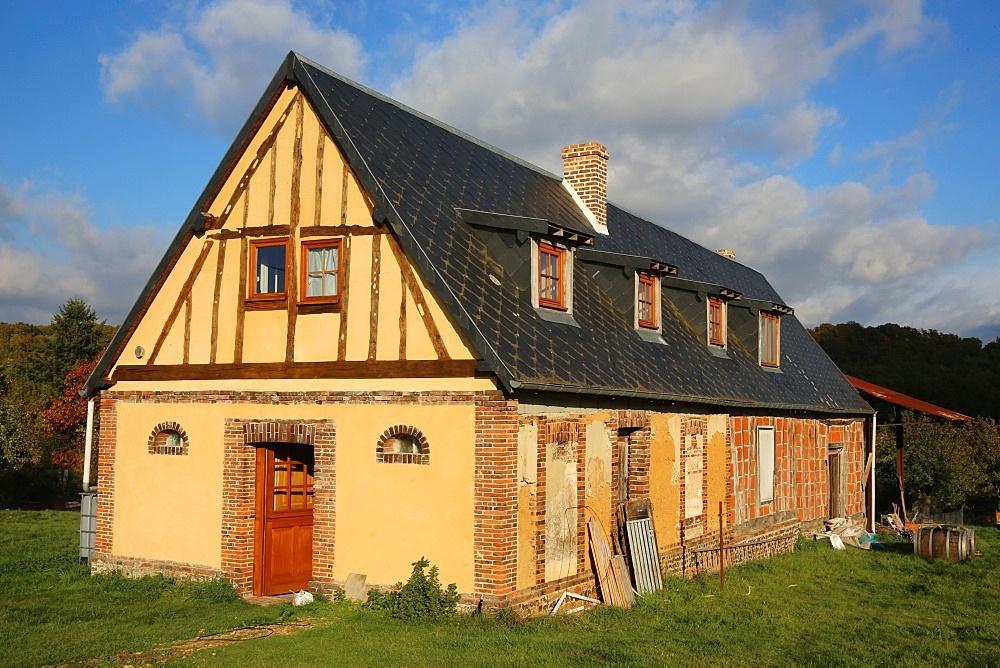 House under renovation, Le Souillard, Eure, Normandy, France, Europe