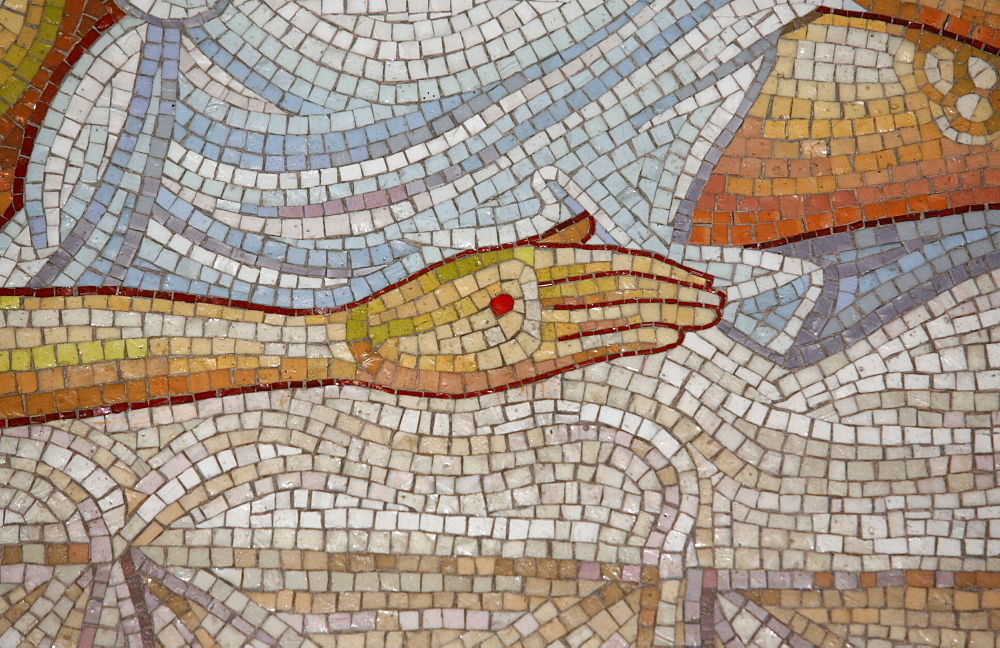 Detail of hand in mosaic of Christ's death at the Church of the Holy Sepulchre, Jerusalem, Israel, Middle East