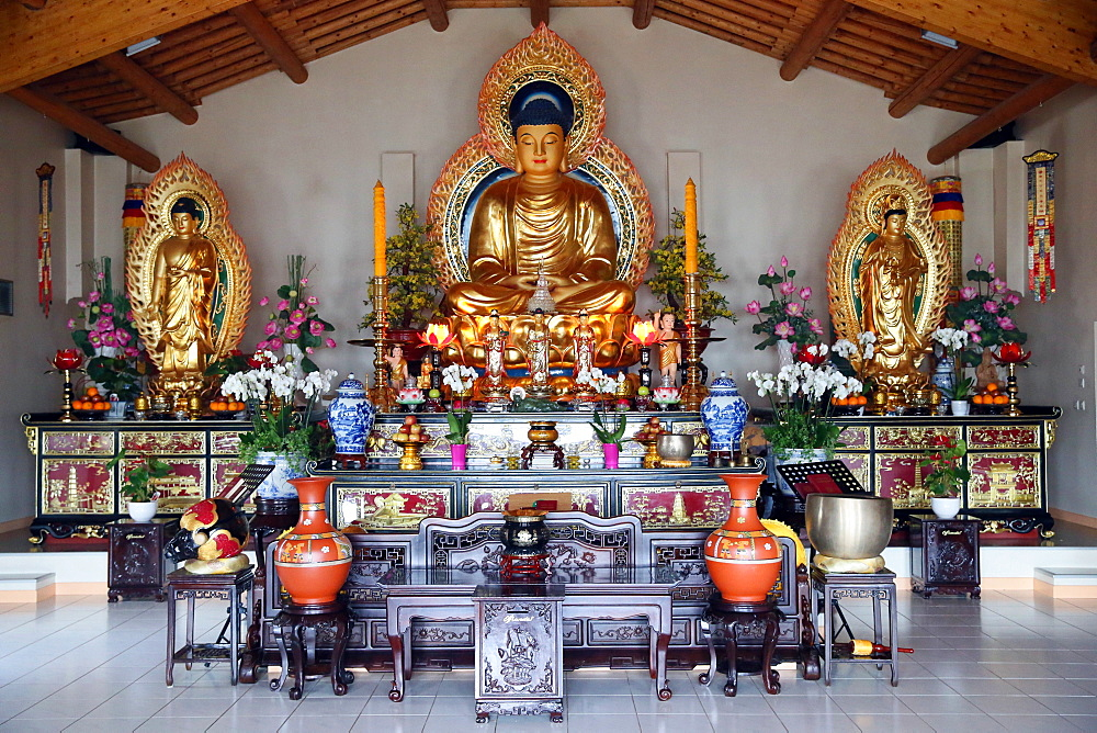 Main altar in Buddhist temple, Thien Minh Pagoda, Sainte-Foy-les-Lyon, Rhone area, France, Europe