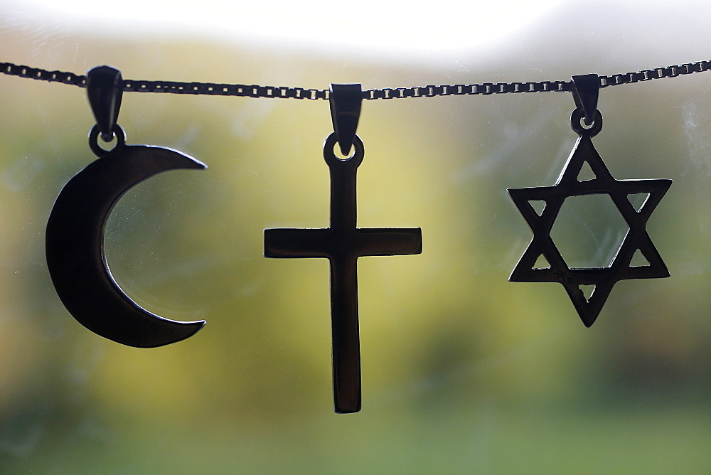 Symbols of Islam, Christianity and Judaism, Eure, France, Europe