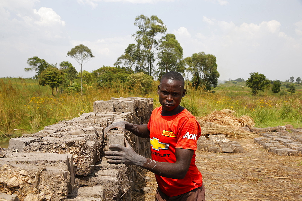 Brick factory financed by a loan from ENCOT microfinance, Uganda, Africa