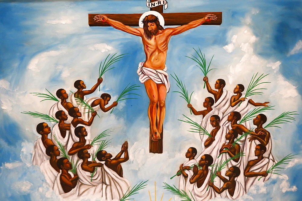 Church fresco, Namugongo Catholic Martyrs' Shrine,  Kampala, Uganda, Africa