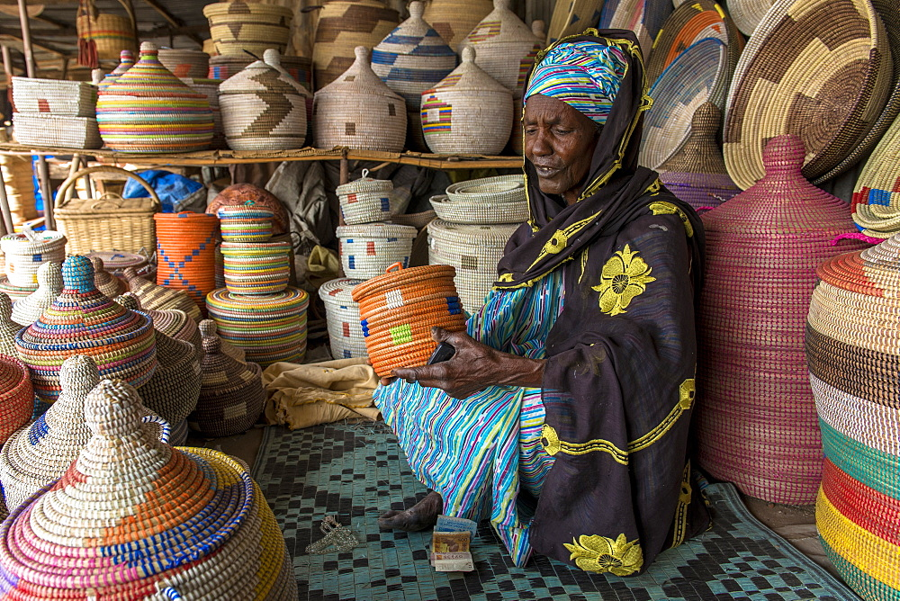 Handmade basket shop, Thies, Senegal, West Africa, Africa